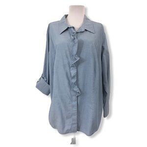 Talbots 22W Button Down Chambray Blouse Cotton L/S